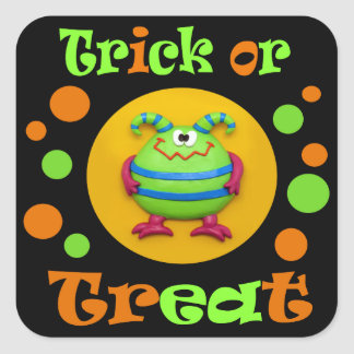 Monster Halloween Party Square Sticker