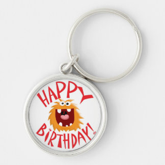 MONSTER HAPPY BIRTHDAY! Silver-Colored ROUND KEYCHAIN
