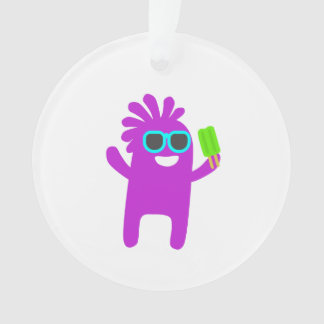 Monster holding a popsicle cartoon ornament