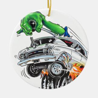 Monster Hot Rod Racer (white) Ceramic Ornament