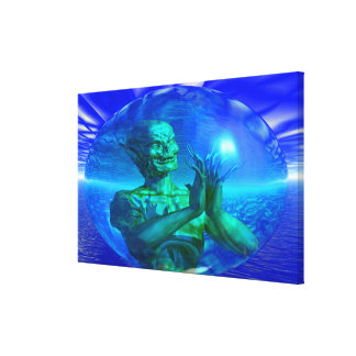 Monster in a Bubble Stretched Canvas Prints