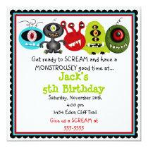 """Monster Invitations 5.25"""" Square Invitation Card"""