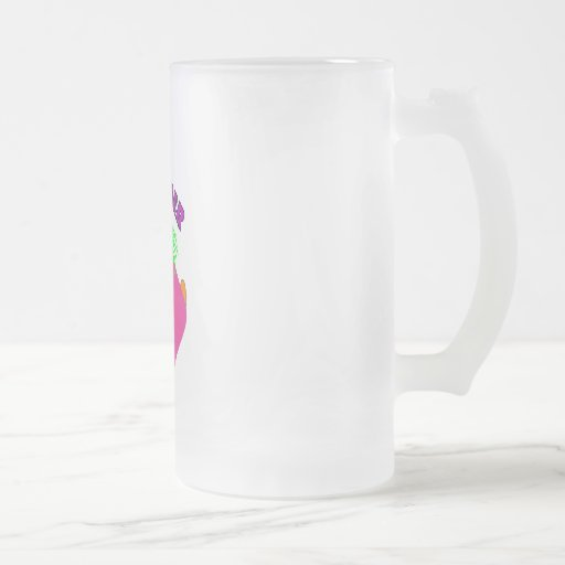 "Monster Kids Gifts ""Adorable Pink Monster Art"" Frosted Glass Beer Mug"