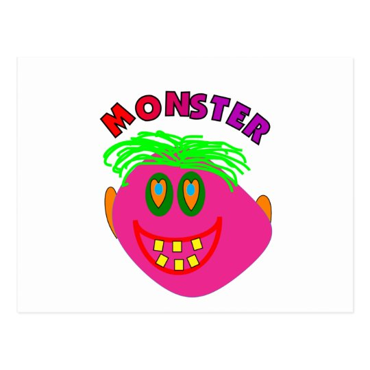 "Monster Kids Gifts ""Adorable Pink Monster Art"" Postcard"