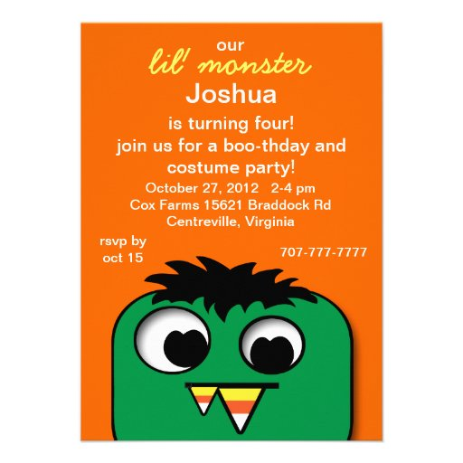 Monster Kids Halloween Birthday Party Invitations
