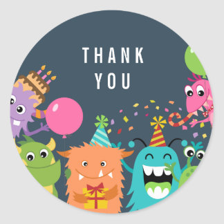 MONSTER MASH birthday party thank you sticker