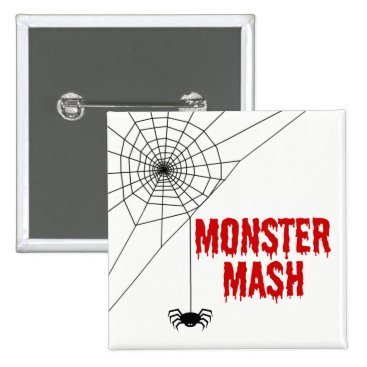Halloween Themed Monster Mash Halloween Spider Web Pinback Button
