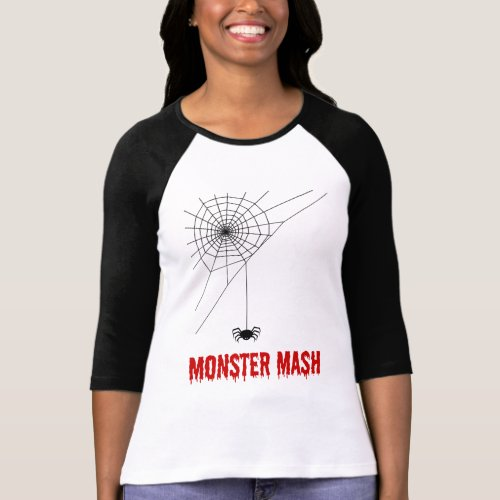 Monster Mash Halloween Spider Web Raglan T-Shirt