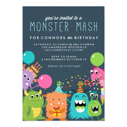 Cute Monsters Kids Birthday Party Invitation