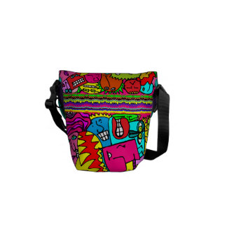 Monster Mash!  Squished silly doodle faces! Courier Bag