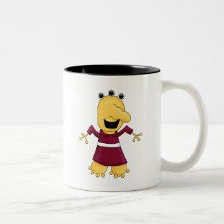 Monster Mash · Yellow Three-Eyed Monster Two-Tone Coffee Mug