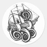 Monster Octopus Round Stickers