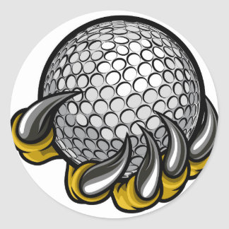 Monster or animal claw holding Golf Ball Classic Round Sticker