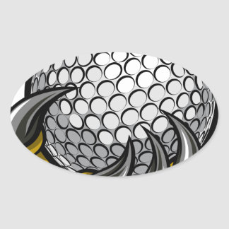 Monster or animal claw holding Golf Ball Oval Sticker