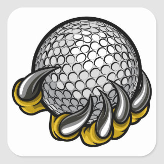 Monster or animal claw holding Golf Ball Square Sticker