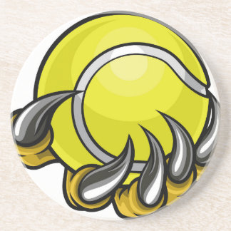 Monster or animal claw holding Tennis Ball Drink Coaster