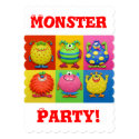 Monster Party 5x7 Paper Invitation Card