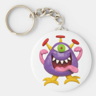 Monster Party Basic Round Button Keychain