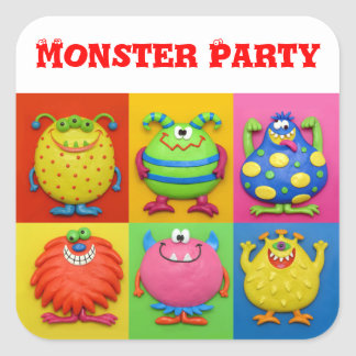 Monster Party Square Sticker