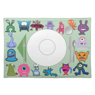Monster place mat with correct placement of stuff