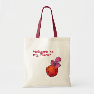 Monster planet tote bag.