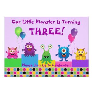 Monster Purple Birthday Invitation