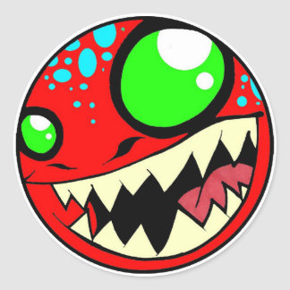 Monster Red Classic Round Sticker