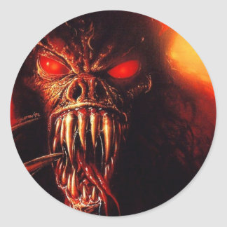 monster red eyes with fangs classic round sticker