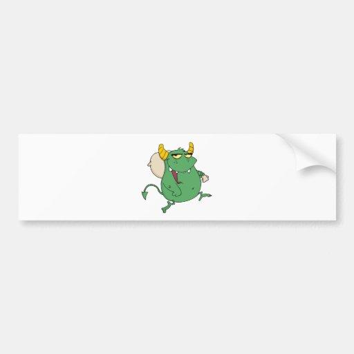 Monster Runs With Bag Bumper Sticker
