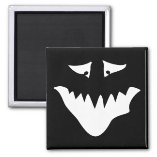 Monster Scary Face, in White. 2 Inch Square Magnet