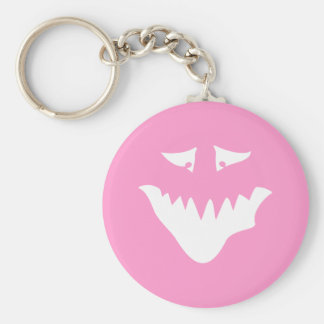 Monster Scary Face, in White. Keychain