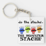 monster stache mash parody Single-Sided square acrylic keychain