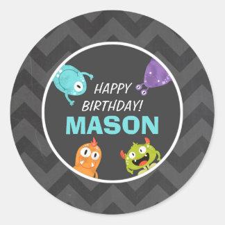 Monster Sticker Cupcake Topper Envelope Seal