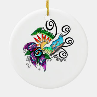 Monster Surf Dreams Ceramic Ornament