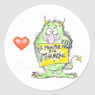 Monster Thank You Classic Round Sticker
