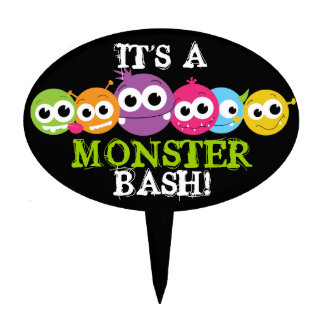 Monster Theme Birthday Party Cake Topper
