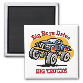 Monster Truck 4th Birthday 2 Inch Square Magnet
