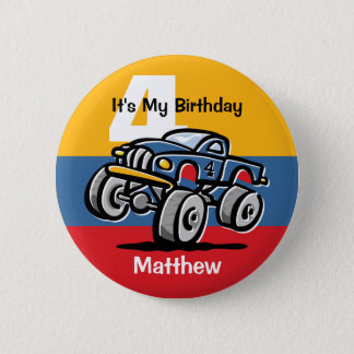 Monster Truck 4th Birthday Pinback Button