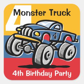 Monster Truck 4th Birthday Square Sticker