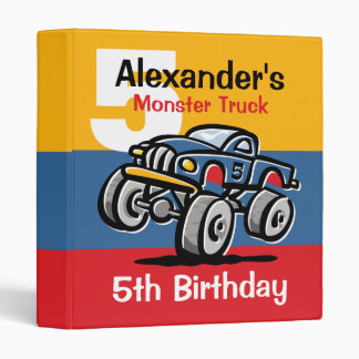 Monster Truck 5th Birthday Binders