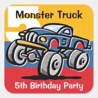 Monster Truck 5th Birthday Square Sticker
