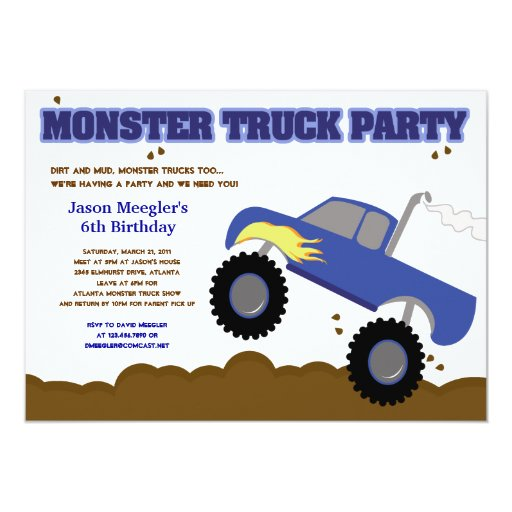 MONSTER TRUCK 5x7 Birthday Invitations