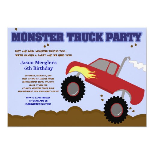 MONSTER TRUCK 5x7 (Red Truck) Birthday Invitations