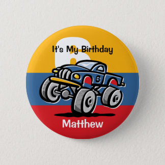 Monster Truck 6th Birthday Pinback Button