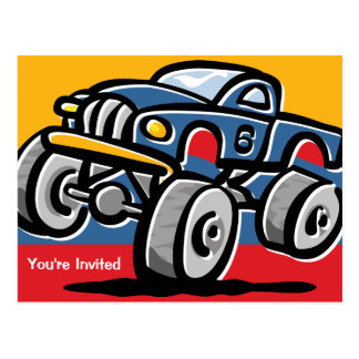 Monster Truck 6th Birthday Postcard Invitations