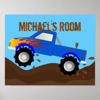Monster truck azul fangoso personalizado posters