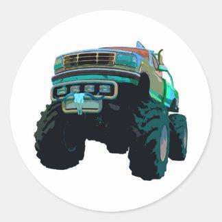 Monster truck azul etiquetas redondas