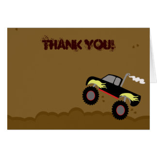 Monster Truck Birthday Folded Thank you note Stationery Note Card