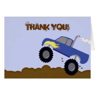 Monster Truck Birthday Folded Thank you note Card