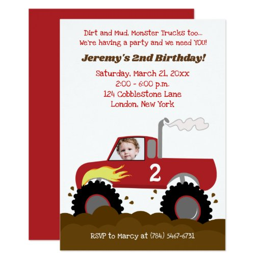 Monster Truck Birthday Invitation Red with Photo